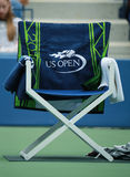 Beamttuch des US Open 2016 auf Spielerstuhl Stockfoto