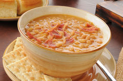 Bean with bacon soup Royalty Free Stock Images