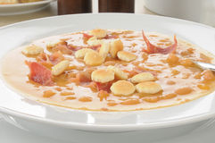 Bean and bacon soup closeup Royalty Free Stock Image