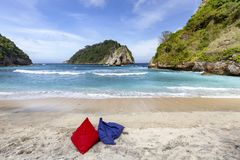 Bean Bag Chairs. Two bean bag chairs on Atuh Beach in Nusa Penida, Indonesia stock photography