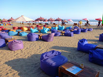 Bean bag seating on beach Royalty Free Stock Photos