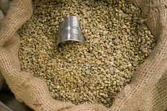 Bean Can Buried in the Coffee Beans Stock Photo