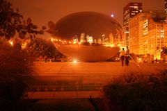 The bean in Chicago. The bean Chicago at night time Royalty Free Stock Photos