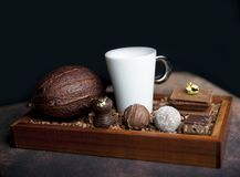 Bean of cocoa and chocolates Stock Photography