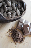 Bean of cocoa. Different forms of cocoa and chocolate Stock Photo