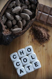 Bean of cocoa. Different forms of cocoa and chocolate Stock Photos
