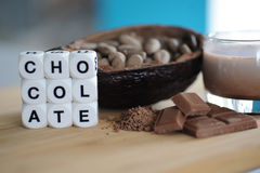 Bean of cocoa. Different forms of cocoa and chocolate Royalty Free Stock Photo