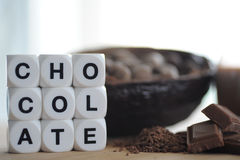 Bean of cocoa. Different forms of cocoa and chocolate Stock Image