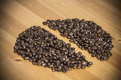 Bean from coffee beans on the table Royalty Free Stock Photography