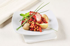 Bean and corn chili with sausage and potatoes Royalty Free Stock Photography