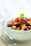 Bean and Corn Salad with Chili. Bean and corn salad toppecd with chili.  Delicious vegetarian eating Royalty Free Stock Photography