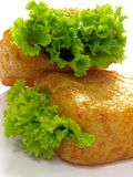 Bean curd buns with lettuce. Bean curn buns with lettuce stuffing on white background Stock Images