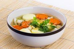 Bean curd soup hot blow Royalty Free Stock Photos