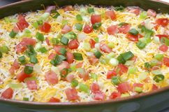 Bean Dip. Topped with grated cheese tomato and scallions Stock Images