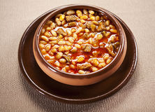 Bean dish. A traditional dish of beans in a ceramic bowl royalty free stock photo