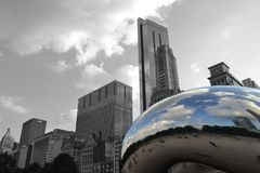 The Bean in front of the Chicago Skyline stock photography