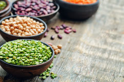 Bean. green and yellow peas, colored beans, chickpeas, green and Royalty Free Stock Photo