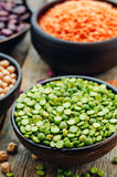 Bean. green and yellow peas, colored beans, chickpeas, green and Stock Image