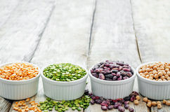 Bean. green and yellow peas, colored beans, chickpeas, green and Stock Photo