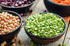 Bean. green and yellow peas, colored beans, chickpeas, green and Royalty Free Stock Image