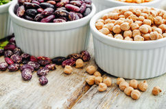 Bean. green and yellow peas, colored beans, chickpeas, green and Stock Photography