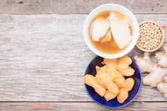 Bean junket eaten hot with gingered syrup, Soy custard Royalty Free Stock Images