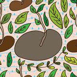 Bean life seamless pattern. Illustration drawing bean life leaves seamless pattern water blue background graphic space template Royalty Free Stock Images