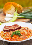 Bean meal. Serbian bean meal with bacon and onion Stock Photography