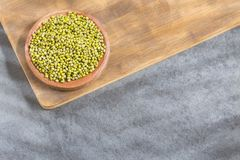 Bean Mung variety of beans in green color - Vigna radiata. Organic mung beans in the bowl - Vigna radiata stock image