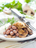 Bean and mushrooms appetizer Stock Photography