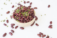 Bean nut decoration green red spoon bowl prepare concept. Bean nut decoration green red spoon bowl prepare Stock Image