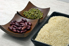 Bean and nut. Bean millet and green bean for cook and dessert Stock Photo