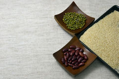 Bean and nut. Bean millet and green bean for cook and dessert Stock Image
