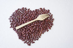 Bean nut shape heart red food ingredients concept Royalty Free Stock Photography