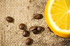 Bean and orange taste. Exotic taste with orange and coffee can be used as a background Royalty Free Stock Photo