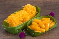 Bean Paste och thailändsk efterrätt för guld- trådar Royaltyfri Bild