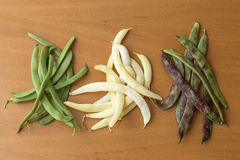 Bean pods of different colors Royalty Free Stock Image