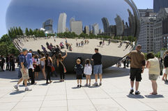 The Bean reflecting visitors in the mirror surface Chicago USA Royalty Free Stock Photography