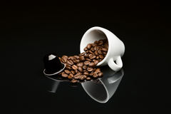 Bean's coffee cup with capsule Stock Photo