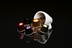 Bean's coffee cup with capsule Stock Images