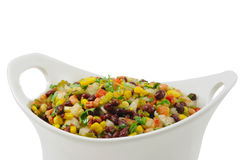 Bean Salad. Bright and Beautiful Bean Salad in a white Bowl on a white background Stock Photography