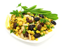 Bean salad. Plate of bean salad with vegetables Royalty Free Stock Photography