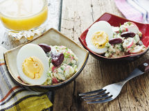 Bean salad, crab meat and eggs Stock Photos