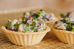 Bean Salad with Mushrooms. Baked in a basket Royalty Free Stock Photo
