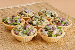 Bean Salad with Mushrooms. Baked in a basket Royalty Free Stock Photos