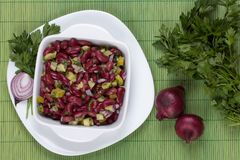 Bean salad with onion cucumber and parsley. French beans salad with red onion cucumber and parsley Stock Images