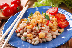 Bean salad and shrimp Royalty Free Stock Photo