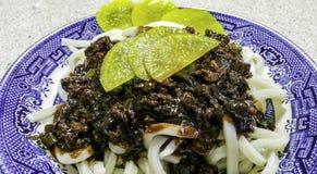 Bean Sauce Noodles Jajangmyeon noir coréen photo stock