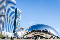 The Bean sculpture in Millenium Park in Chicago Illinois. Royalty Free Stock Images