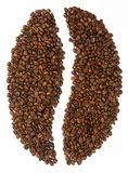 Bean shape made from coffee beans Stock Image